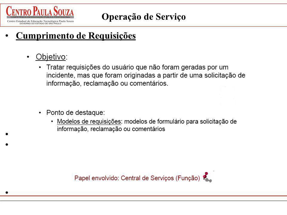 Operação de Serviço Cumprimento de Requisições