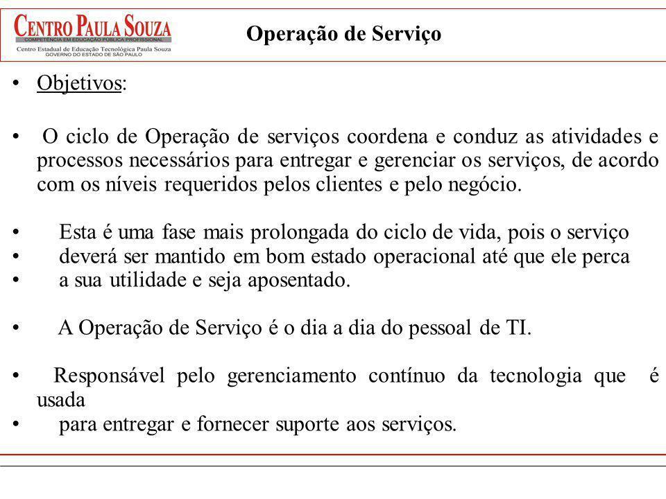 Objetivos: O ciclo de Operação de serviços coordena e conduz as atividades e processos necessários para entregar e gerenciar os serviços, de acordo co