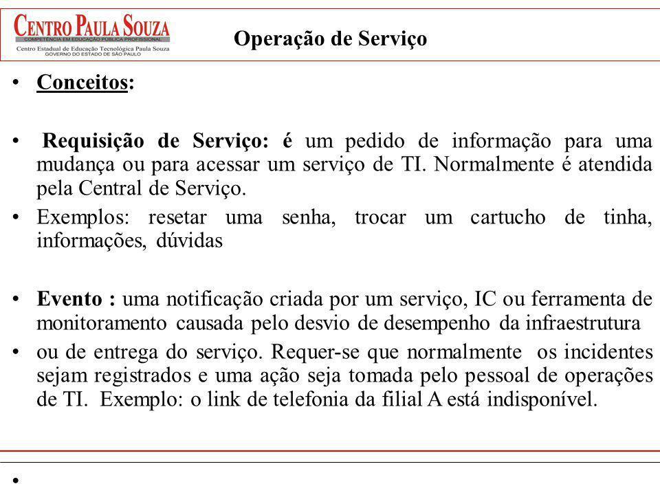 Operação de Serviço Conceitos: Requisição de Serviço: é um pedido de informação para uma mudança ou para acessar um serviço de TI. Normalmente é atend