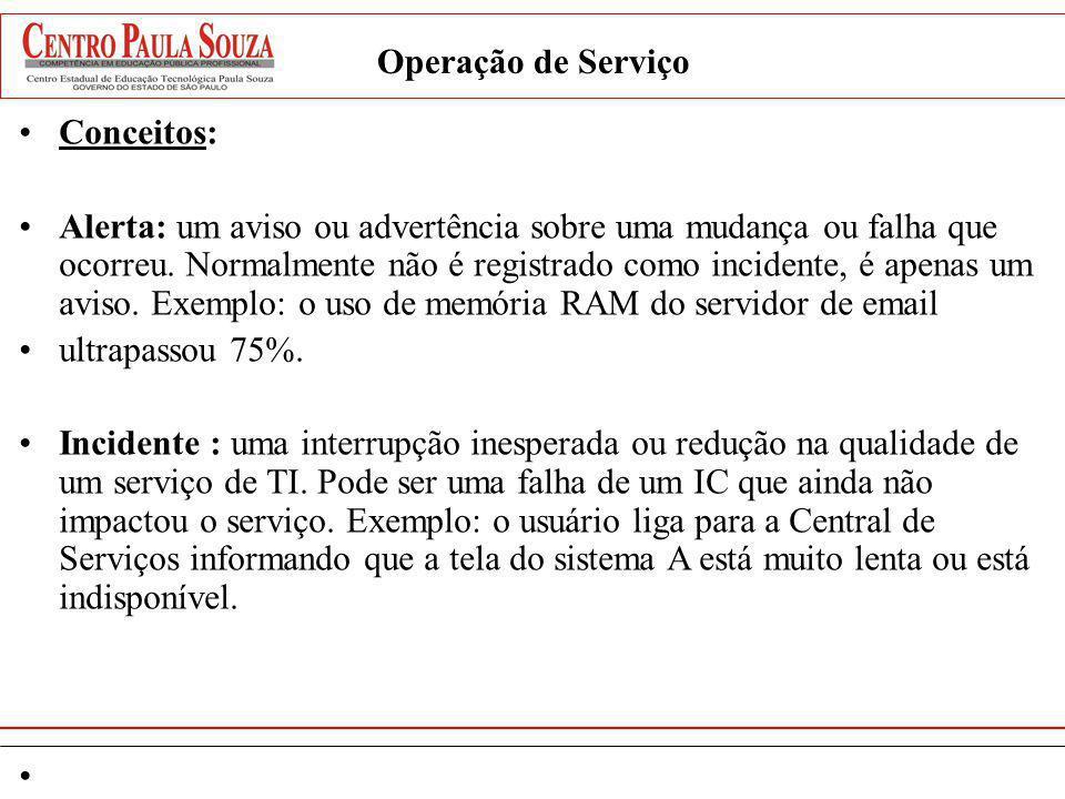 Operação de Serviço Conceitos: Problema: É a causa de um ou mais incidentes.