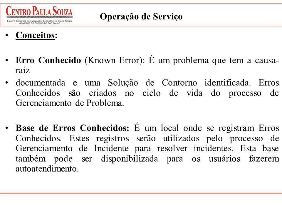 Operação de Serviço Conceitos: Erro Conhecido (Known Error): É um problema que tem a causa- raiz documentada e uma Solução de Contorno identificada. E