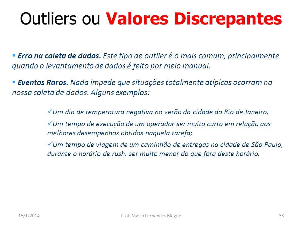 Exemplo 1 : Outlier (valor discrepante) 15/1/2014Prof.