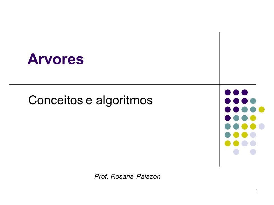 Arvores Conceitos e algoritmos Prof. Rosana Palazon 1