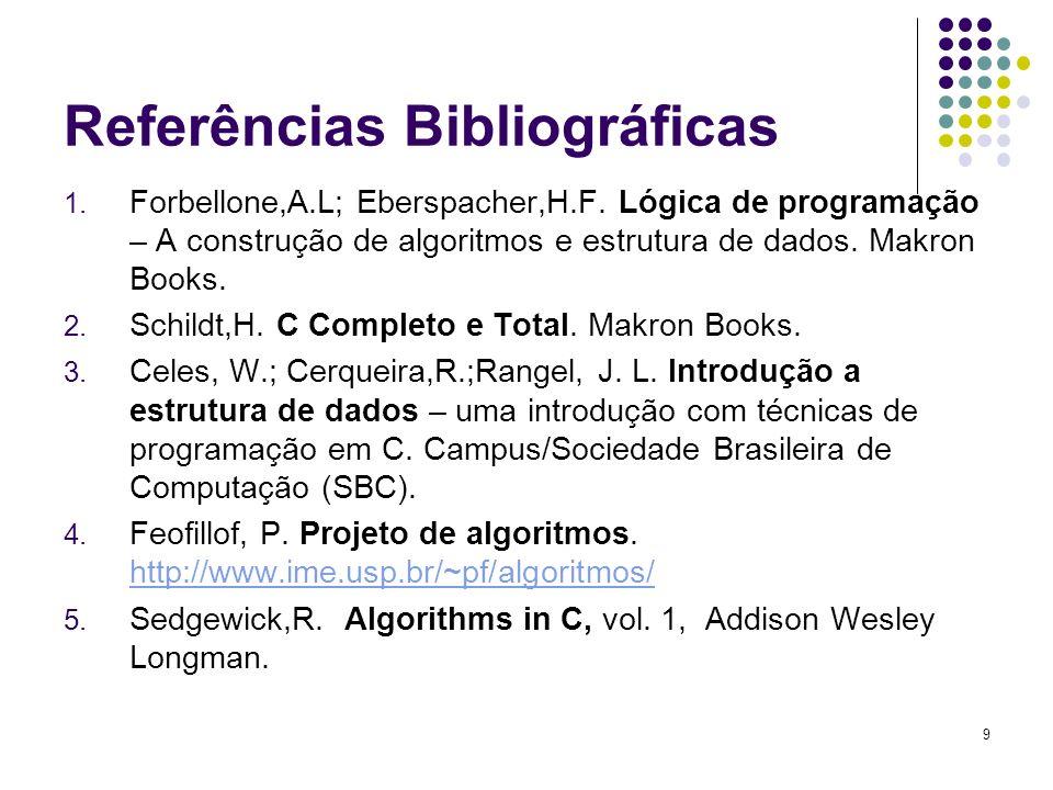 Referências Bibliográficas 1. Forbellone,A.L; Eberspacher,H.F. Lógica de programação – A construção de algoritmos e estrutura de dados. Makron Books.