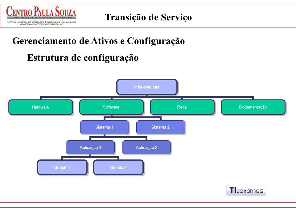 Gerenciamento de Ativos e Configuração Infra-estrutura HardwareSoftware Sistema 1 Aplicação 1 Módulo 1Módulo 2 Aplicação 2 Sistema 2 RedeDocumentação