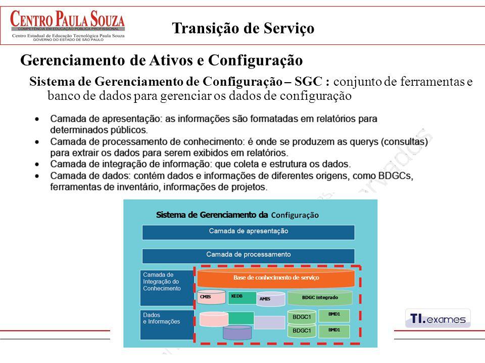 Gerenciamento de Ativos e Configuração Sistema de Gerenciamento de Configuração – SGC : conjunto de ferramentas e banco de dados para gerenciar os dad