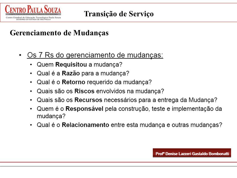 Tipos de Liberação Gerenciamento da Liberação e Implantação Transição de Serviço