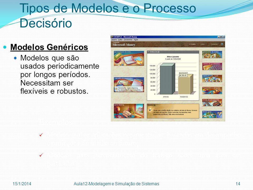 Tipos de Modelos e o Processo Decisório Modelos Genéricos Modelos que são usados periodicamente por longos períodos. Necessitam ser flexíveis e robust