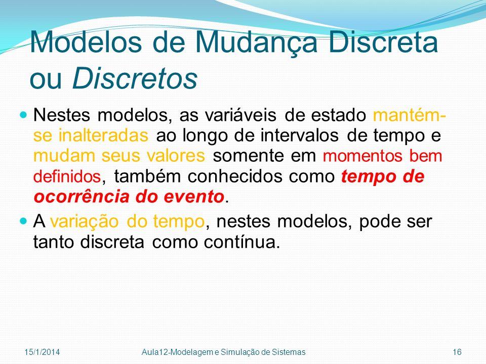 Modelos de Mudança Discreta ou Discretos Nestes modelos, as variáveis de estado mantém- se inalteradas ao longo de intervalos de tempo e mudam seus va