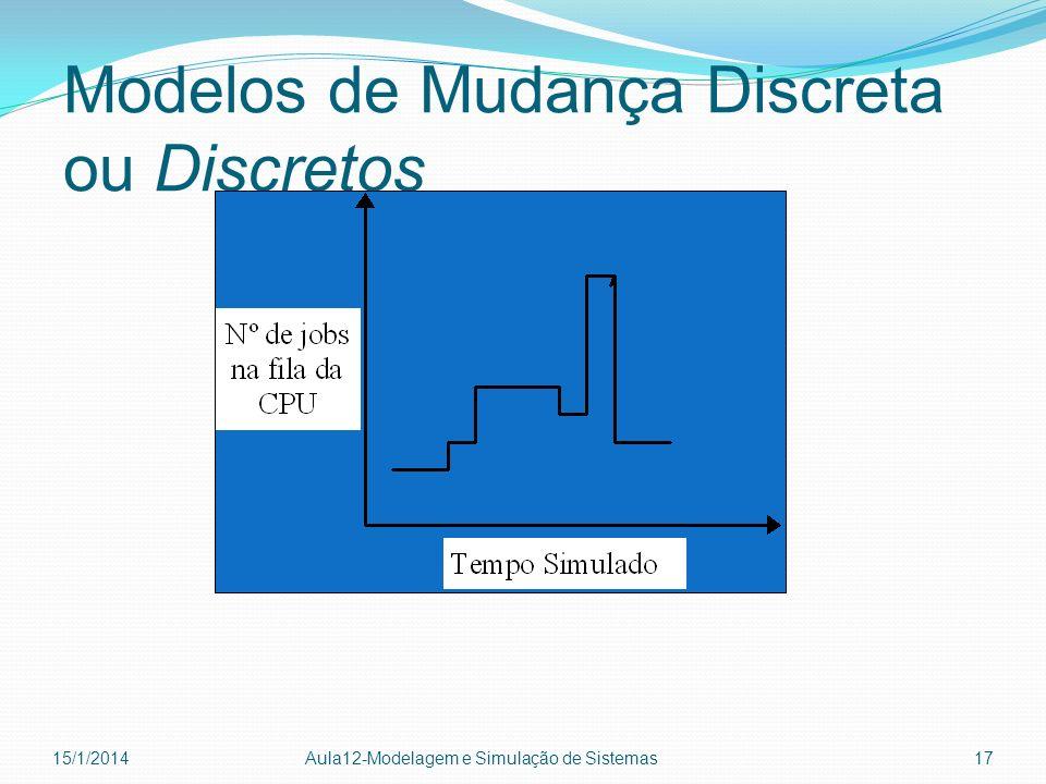 Modelos de Mudança Discreta ou Discretos 15/1/2014 Aula12-Modelagem e Simulação de Sistemas 17
