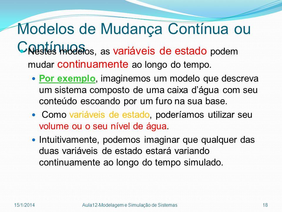 Modelos de Mudança Contínua ou Contínuos Nestes modelos, as variáveis de estado podem mudar continuamente ao longo do tempo. Por exemplo, imaginemos u