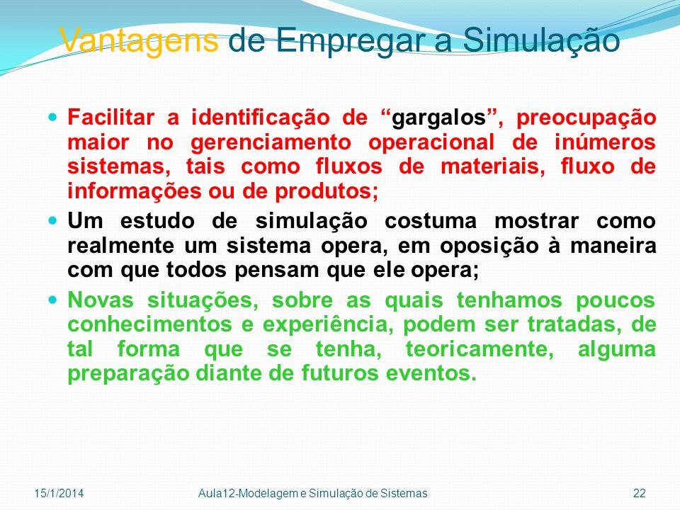 Vantagens de Empregar a Simulação Facilitar a identificação de gargalos, preocupação maior no gerenciamento operacional de inúmeros sistemas, tais com