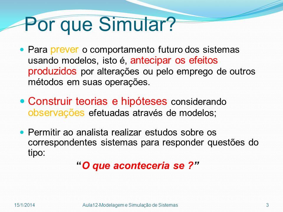 Por que Simular? Para prever o comportamento futuro dos sistemas usando modelos, isto é, antecipar os efeitos produzidos por alterações ou pelo empreg