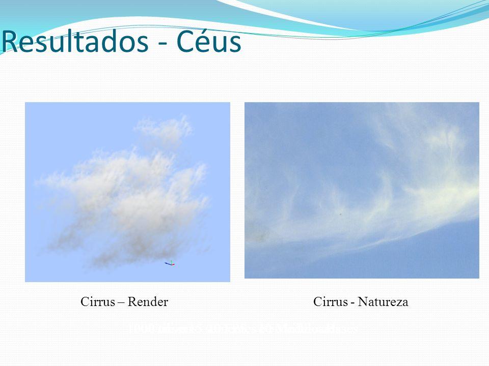 Resultados - Céus Utiliza 15 sementes e 50 billboards200 nuvens - 20 FPS - 10 Modelos Bases1000 nuvens - 10 FPS - 10 Modelos Bases Cirrus – Render Cir