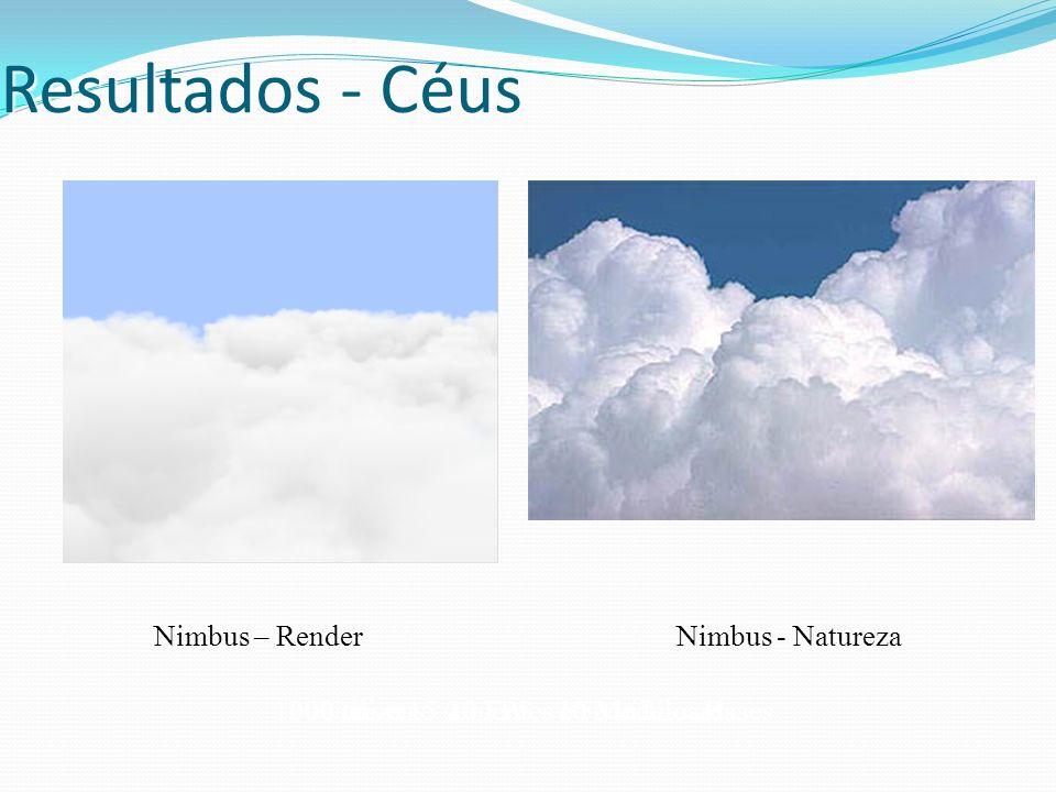 Resultados - Céus Utiliza 15 sementes e 50 billboards Nimbus – Render Nimbus - Natureza 200 nuvens - 20 FPS - 10 Modelos Bases1000 nuvens - 10 FPS - 1