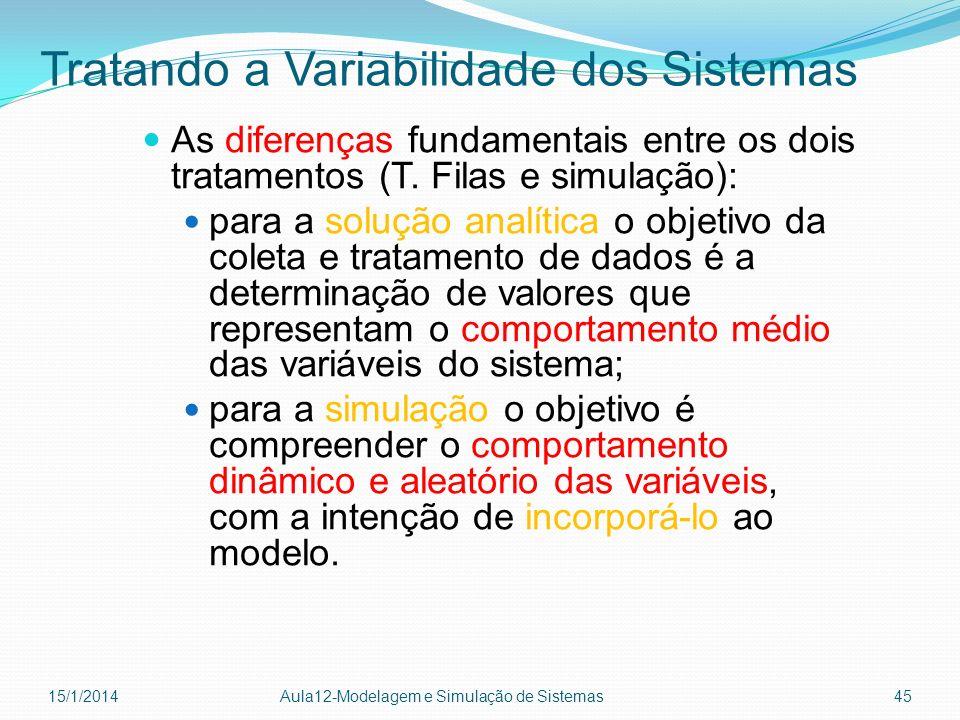 Tratando a Variabilidade dos Sistemas As diferenças fundamentais entre os dois tratamentos (T. Filas e simulação): para a solução analítica o objetivo