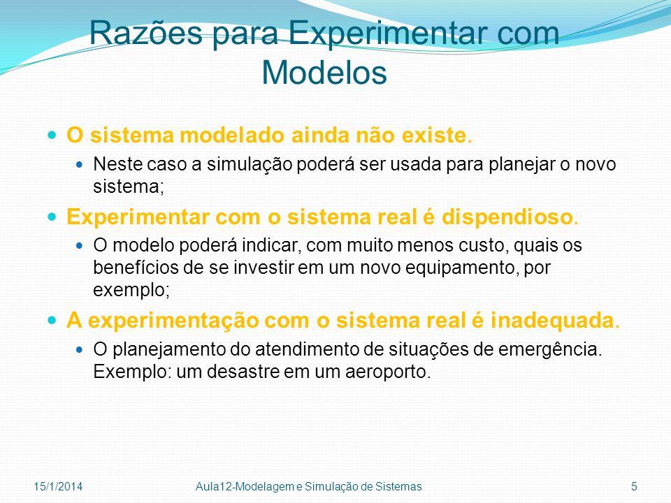 Razões para Experimentar com Modelos O sistema modelado ainda não existe. Neste caso a simulação poderá ser usada para planejar o novo sistema; Experi