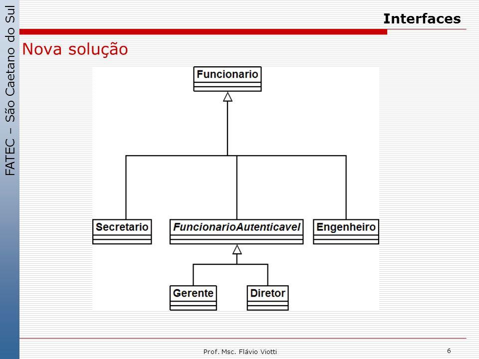 FATEC – São Caetano do Sul 6 Prof. Msc. Flávio Viotti Interfaces Nova solução