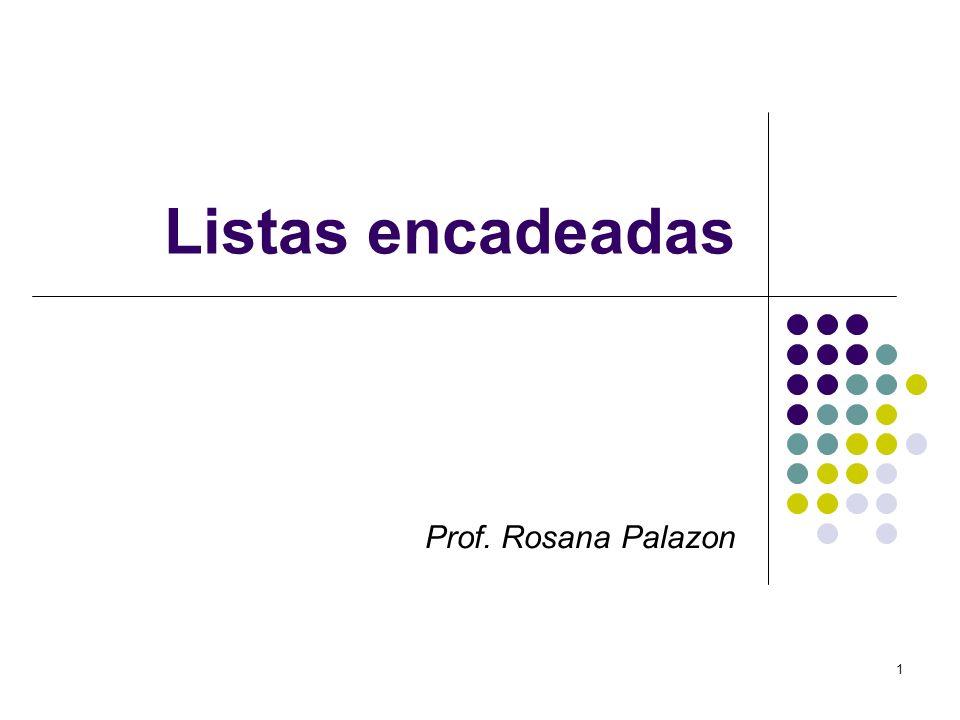 Listas encadeadas Prof. Rosana Palazon 1