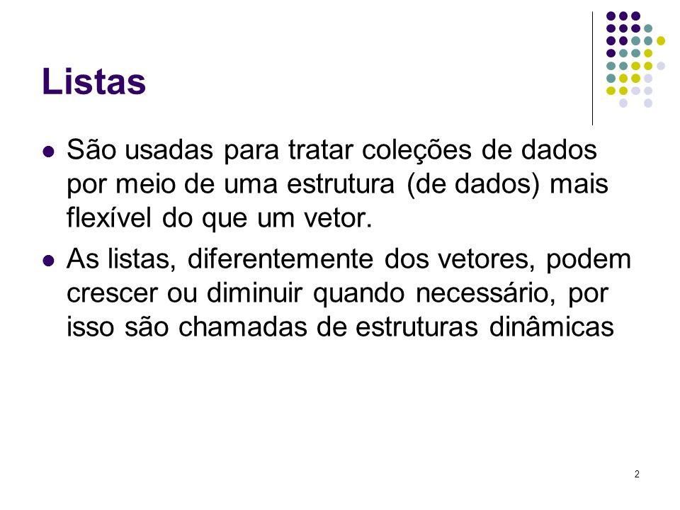 Listas São usadas para tratar coleções de dados por meio de uma estrutura (de dados) mais flexível do que um vetor. As listas, diferentemente dos veto