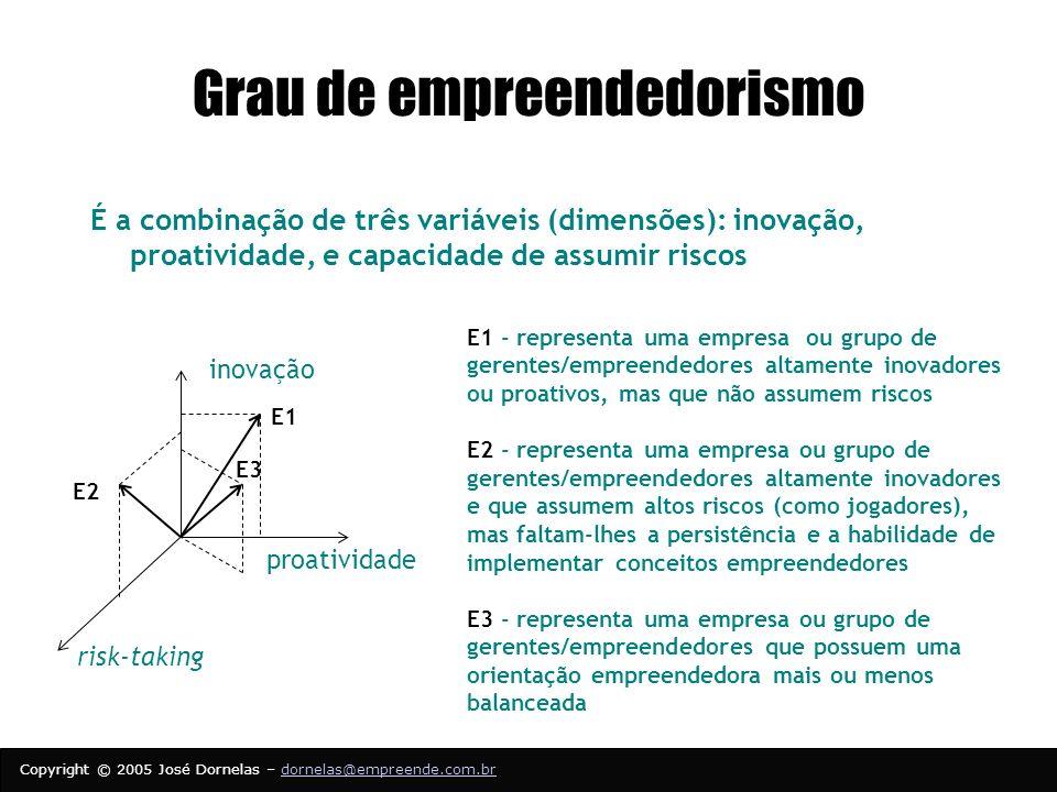 Copyright © 2005 José Dornelas – dornelas@empreende.com.brdornelas@empreende.com.br Grau de empreendedorismo É a combinação de três variáveis (dimensões): inovação, proatividade, e capacidade de assumir riscos inovação proatividade risk-taking E1 E2 E3 E1 - representa uma empresa ou grupo de gerentes/empreendedores altamente inovadores ou proativos, mas que não assumem riscos E2 - representa uma empresa ou grupo de gerentes/empreendedores altamente inovadores e que assumem altos riscos (como jogadores), mas faltam-lhes a persistência e a habilidade de implementar conceitos empreendedores E3 - representa uma empresa ou grupo de gerentes/empreendedores que possuem uma orientação empreendedora mais ou menos balanceada