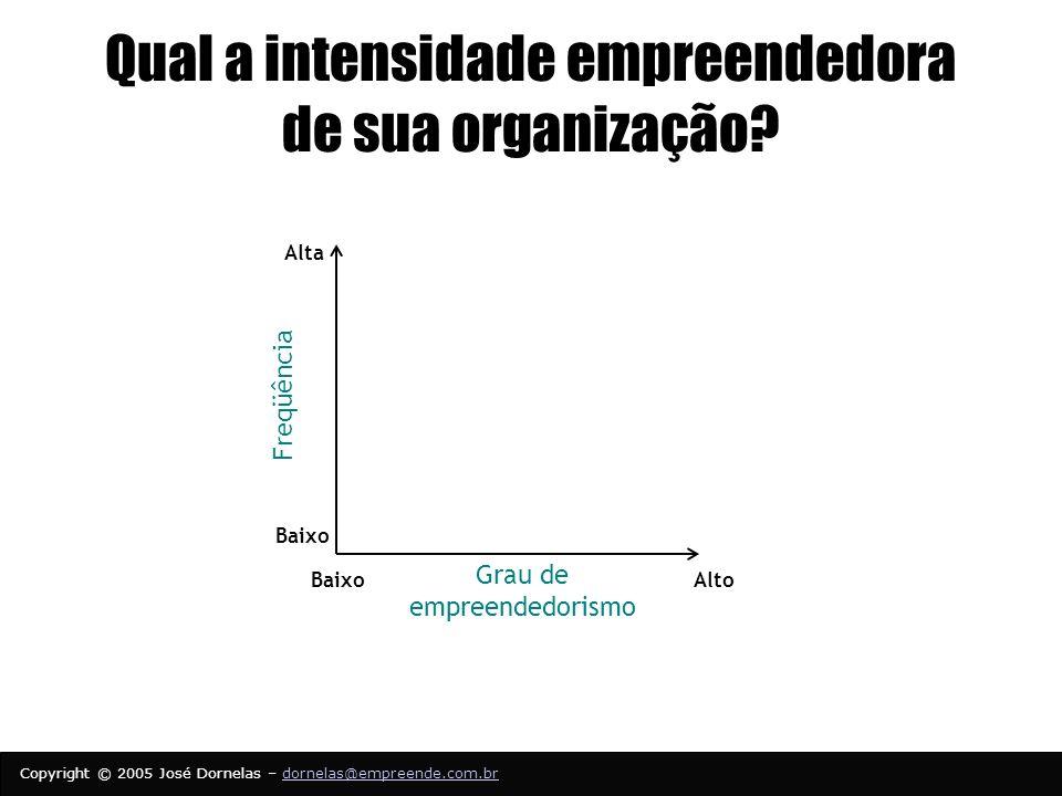 Copyright © 2005 José Dornelas – dornelas@empreende.com.brdornelas@empreende.com.br Qual a intensidade empreendedora de sua organização.