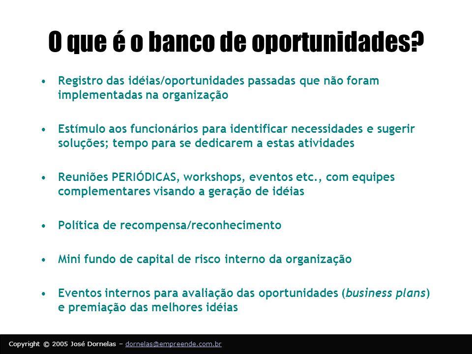 Copyright © 2005 José Dornelas – dornelas@empreende.com.brdornelas@empreende.com.br O que é o banco de oportunidades.
