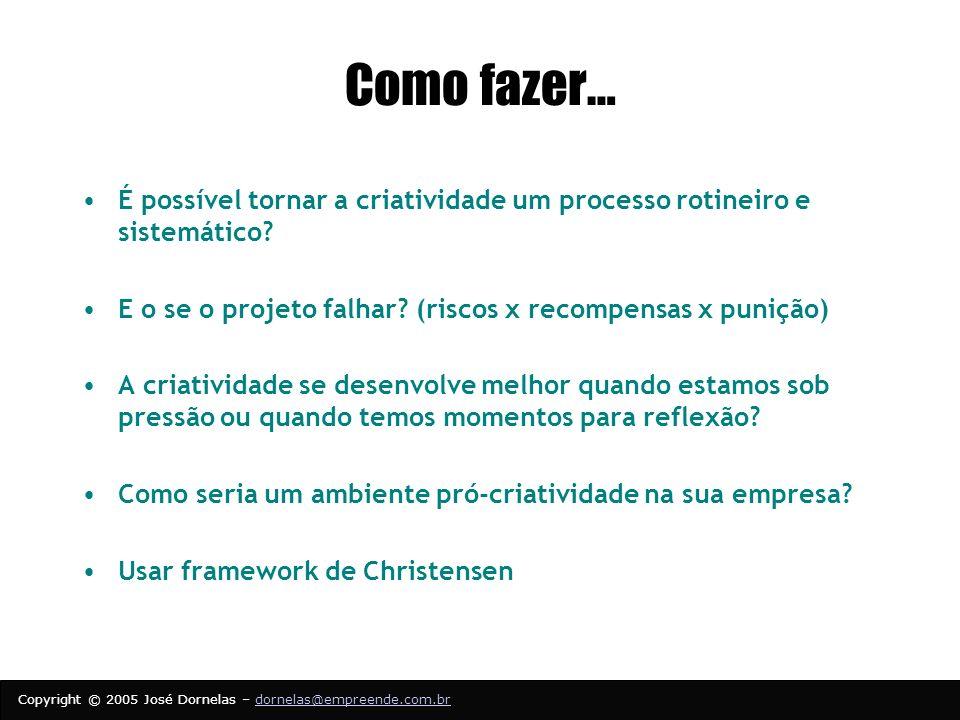 Copyright © 2005 José Dornelas – dornelas@empreende.com.brdornelas@empreende.com.br Como fazer… É possível tornar a criatividade um processo rotineiro e sistemático.