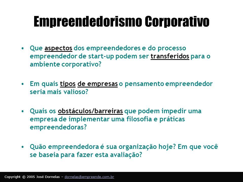 Copyright © 2005 José Dornelas – dornelas@empreende.com.brdornelas@empreende.com.br Empreendedorismo Corporativo Que aspectos dos empreendedores e do processo empreendedor de start-up podem ser transferidos para o ambiente corporativo.