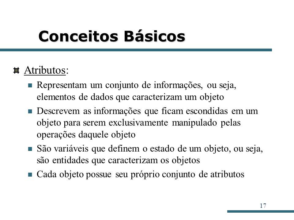 17 Conceitos Básicos Atributos: Representam um conjunto de informações, ou seja, elementos de dados que caracterizam um objeto Descrevem as informaçõe