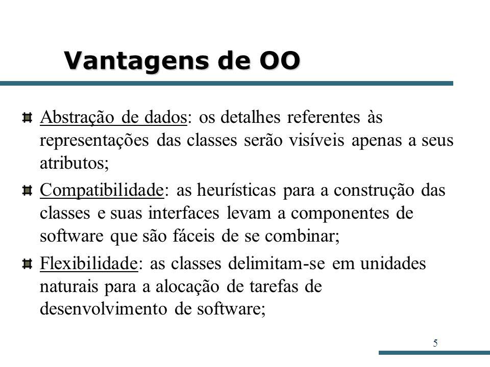 5 Vantagens de OO Abstração de dados: os detalhes referentes às representações das classes serão visíveis apenas a seus atributos; Compatibilidade: as