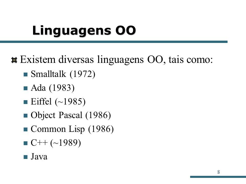 8 Linguagens OO Existem diversas linguagens OO, tais como: Smalltalk (1972) Ada (1983) Eiffel (~1985) Object Pascal (1986) Common Lisp (1986) C++ (~19