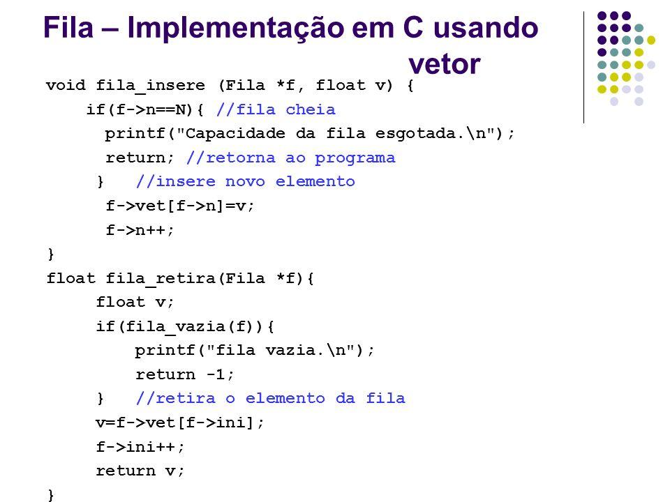 Fila – Implementação em C usando vetor void fila_insere (Fila *f, float v) { if(f->n==N){ //fila cheia printf(
