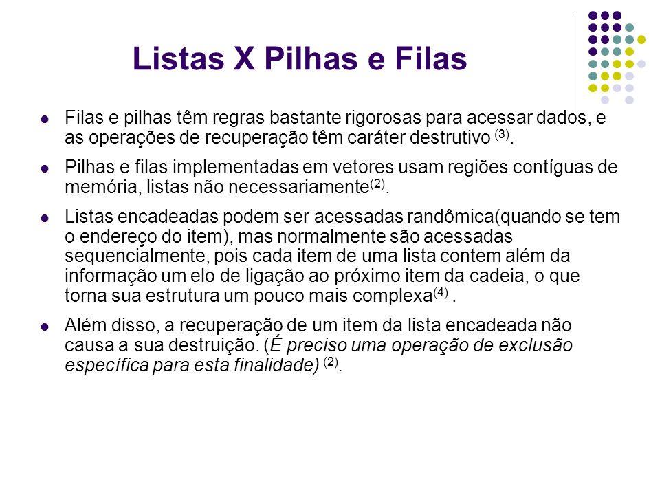 Filas e pilhas têm regras bastante rigorosas para acessar dados, e as operações de recuperação têm caráter destrutivo (3). Pilhas e filas implementada