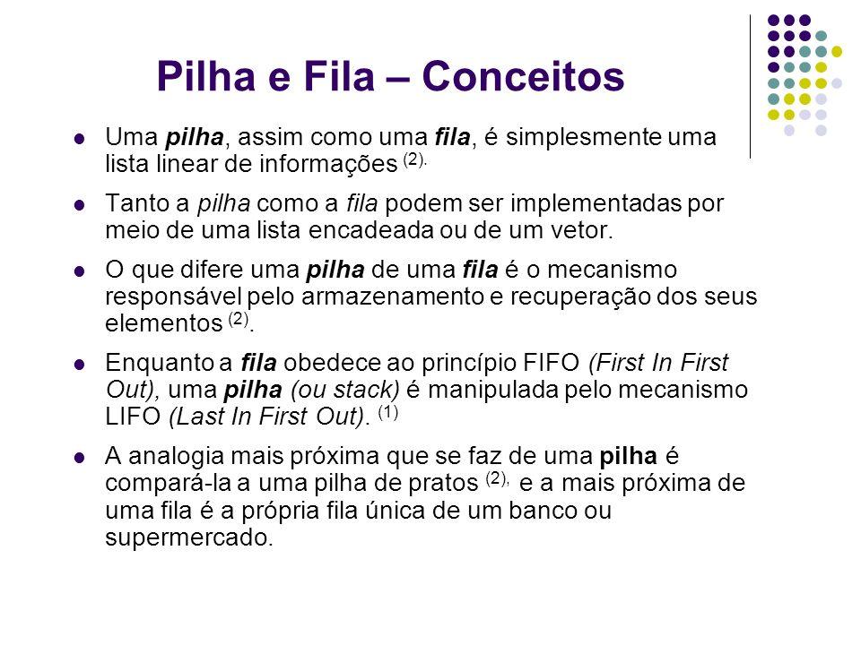 Pilha e Fila – Conceitos Uma pilha, assim como uma fila, é simplesmente uma lista linear de informações (2). Tanto a pilha como a fila podem ser imple