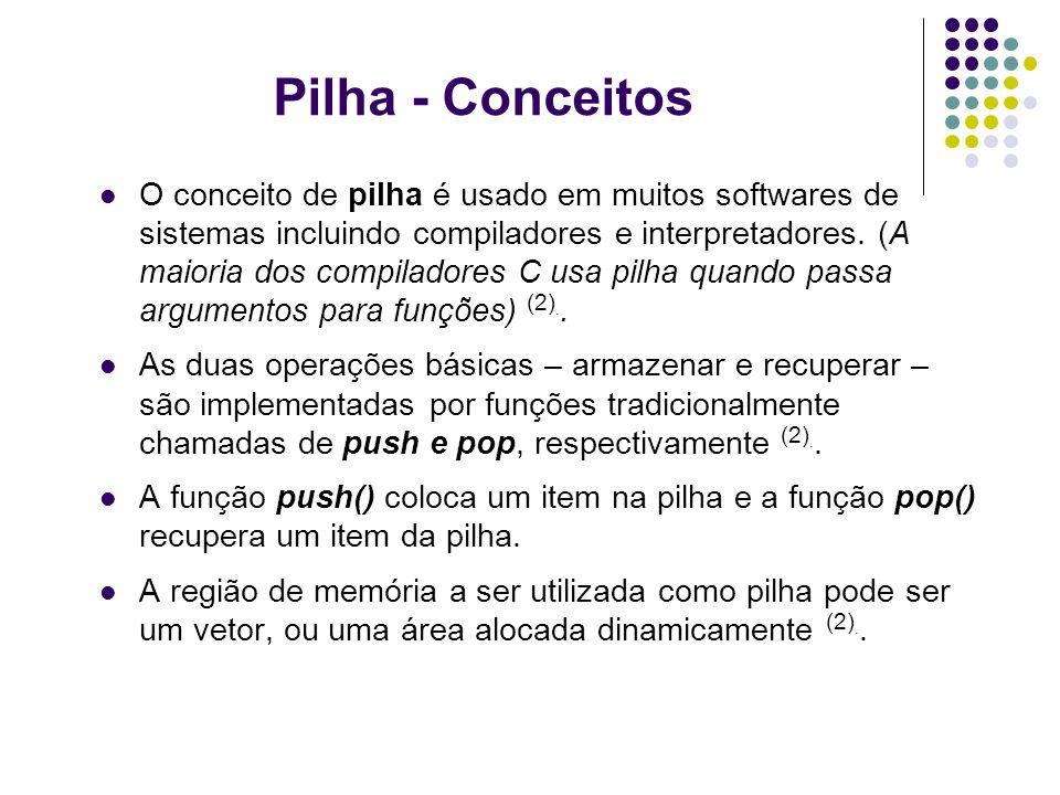 Pilha - Conceitos O conceito de pilha é usado em muitos softwares de sistemas incluindo compiladores e interpretadores. (A maioria dos compiladores C