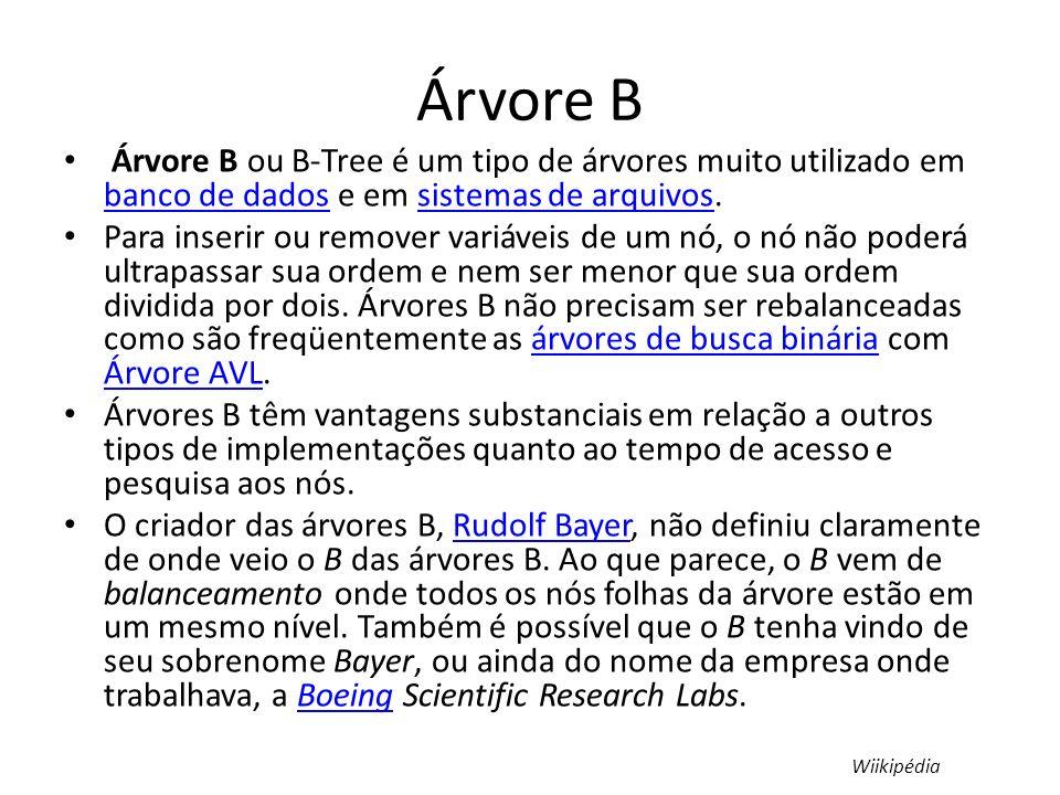 Árvore B Árvore B ou B-Tree é um tipo de árvores muito utilizado em banco de dados e em sistemas de arquivos.