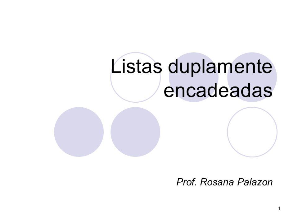 Listas duplamente encadeadas Prof. Rosana Palazon 1