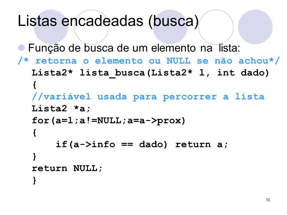 Listas encadeadas (busca) Função de busca de um elemento na lista: /* retorna o elemento ou NULL se não achou*/ Lista2* lista_busca(Lista2* l, int dad
