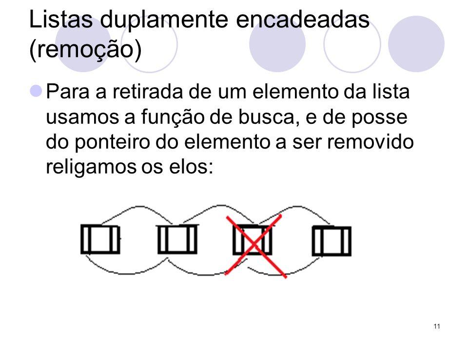 Listas duplamente encadeadas (remoção) Para a retirada de um elemento da lista usamos a função de busca, e de posse do ponteiro do elemento a ser remo