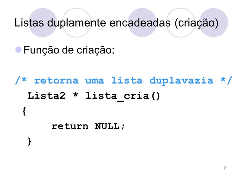 Listas duplamente encadeadas (criação) Função de criação: /* retorna uma lista duplavazia */ Lista2 * lista_cria() { return NULL; } 5