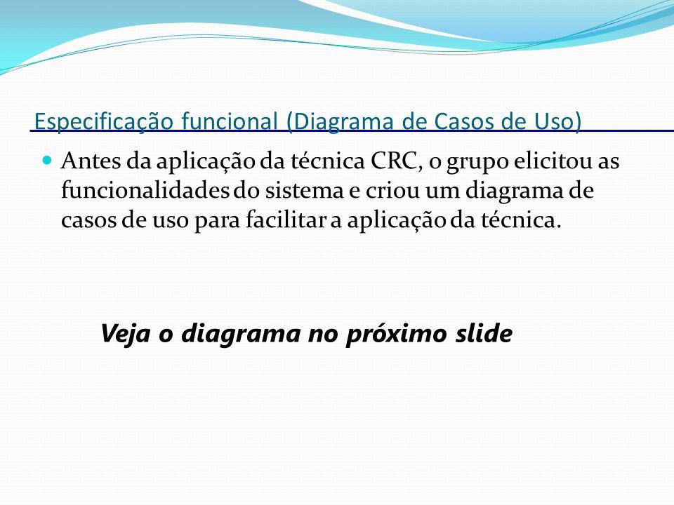Especificação funcional (Diagrama de Casos de Uso) Antes da aplicação da técnica CRC, o grupo elicitou as funcionalidades do sistema e criou um diagra