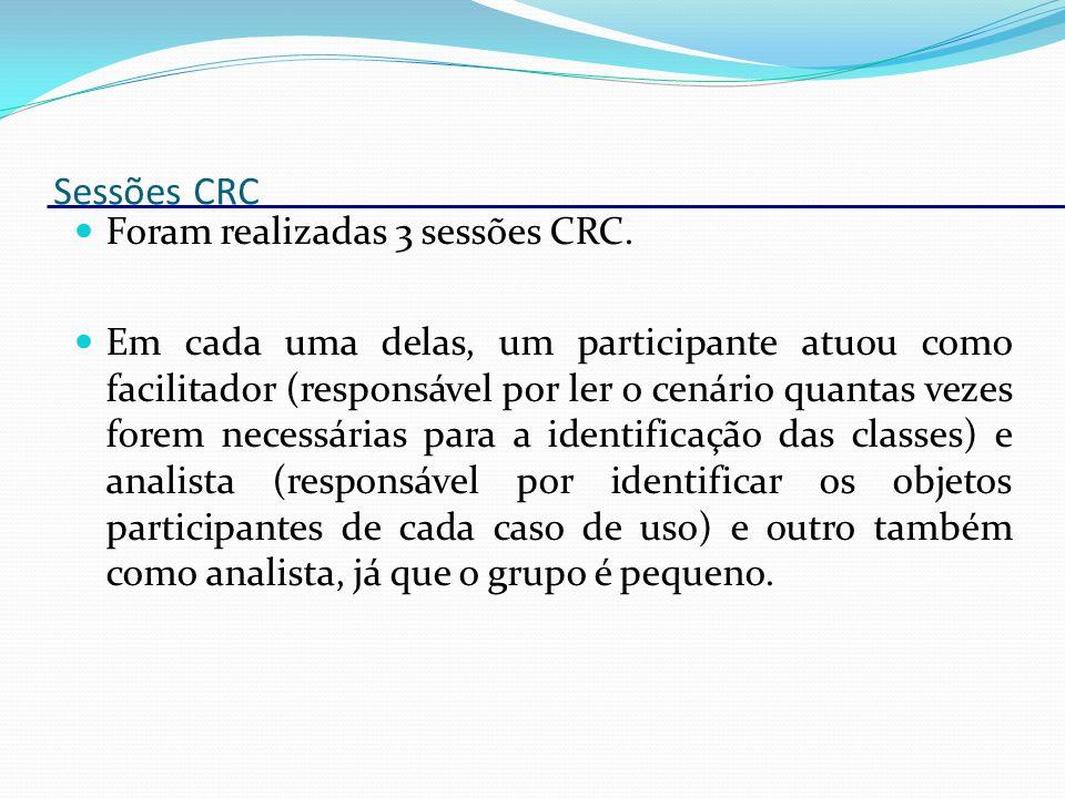 Sessões CRC Foram realizadas 3 sessões CRC. Em cada uma delas, um participante atuou como facilitador (responsável por ler o cenário quantas vezes for