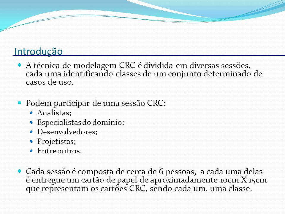 Introdução Cada cartão CRC deve conter o nome da classe, suas responsabilidades e os colaboradores (as outras classes que colaboram para que esta cumpra suas responsabilidades).