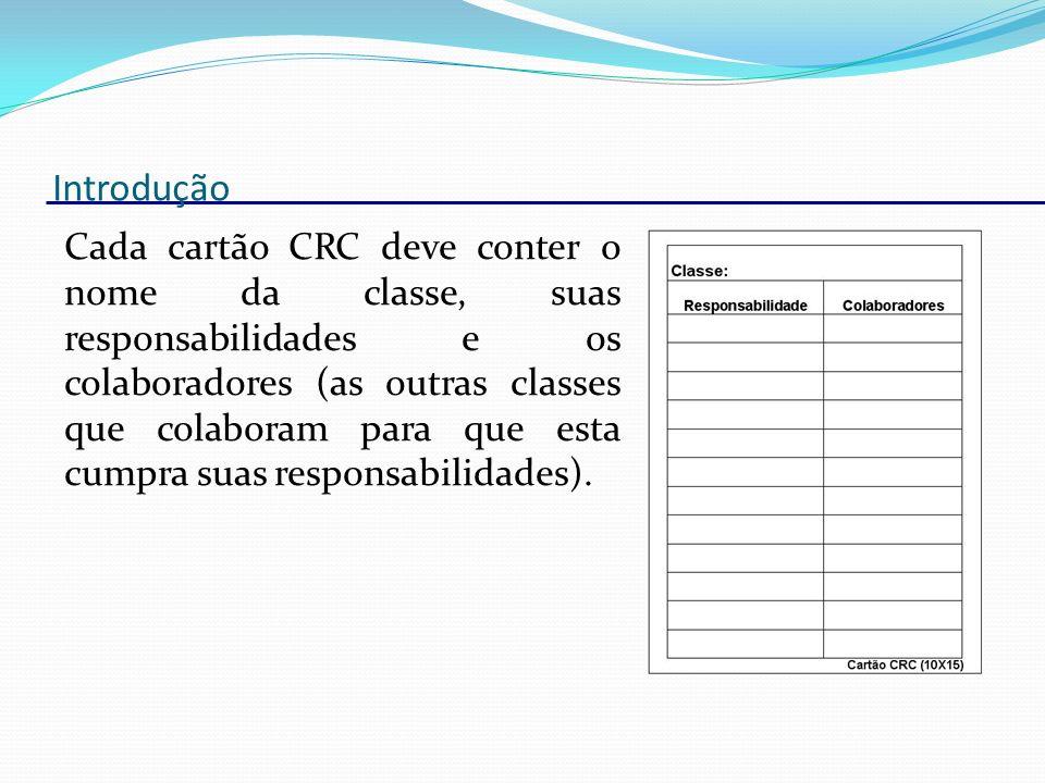 Introdução Cada cartão CRC deve conter o nome da classe, suas responsabilidades e os colaboradores (as outras classes que colaboram para que esta cump