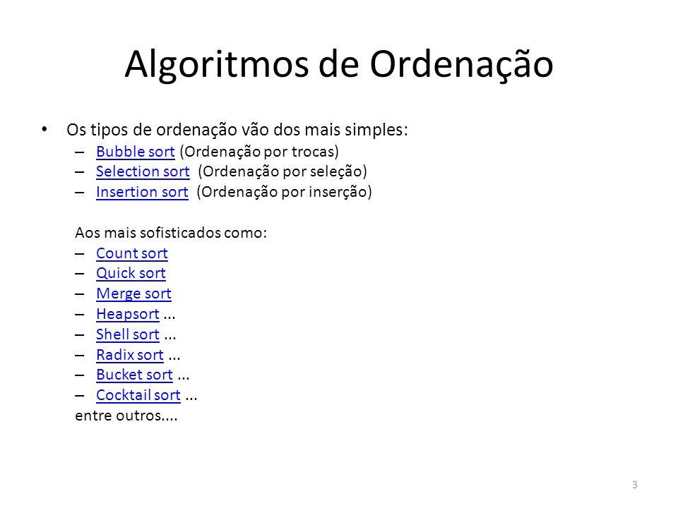 Algoritmos de Ordenação Os tipos de ordenação vão dos mais simples: – Bubble sort (Ordenação por trocas) Bubble sort – Selection sort (Ordenação por s