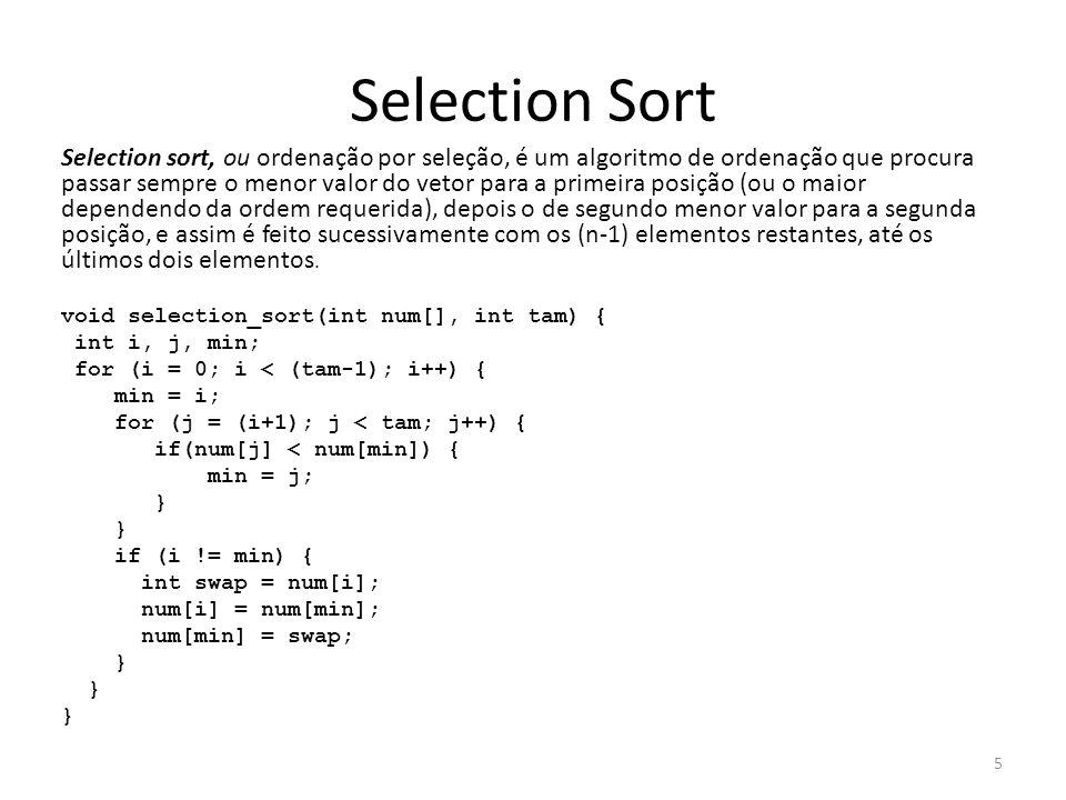 Selection Sort Selection sort, ou ordenação por seleção, é um algoritmo de ordenação que procura passar sempre o menor valor do vetor para a primeira