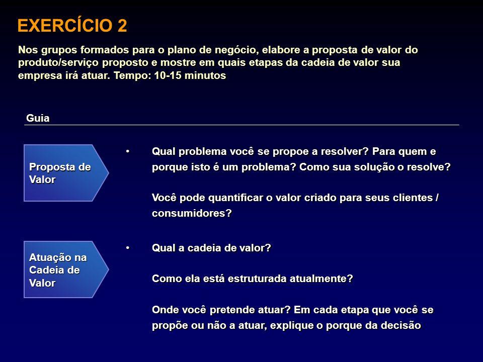 EXERCÍCIO 2 Nos grupos formados para o plano de negócio, elabore a proposta de valor do produto/serviço proposto e mostre em quais etapas da cadeia de