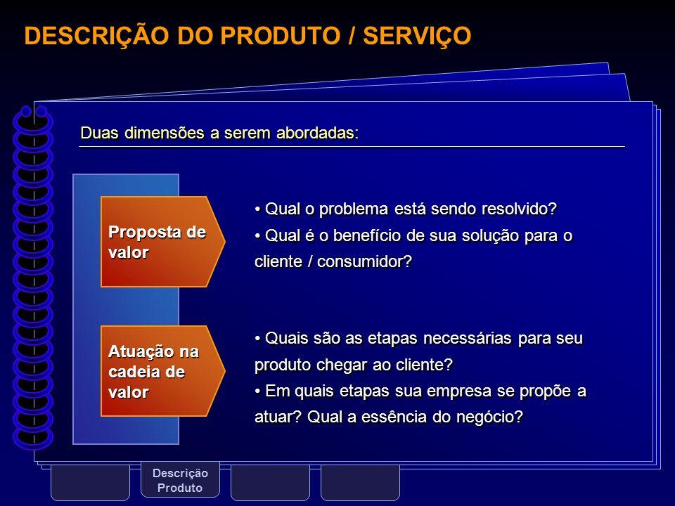 DESCRIÇÃO DO PRODUTO / SERVIÇO Descrição Produto Proposta de valor Atuação na cadeia de valor Duas dimensões a serem abordadas: Qual o problema está s