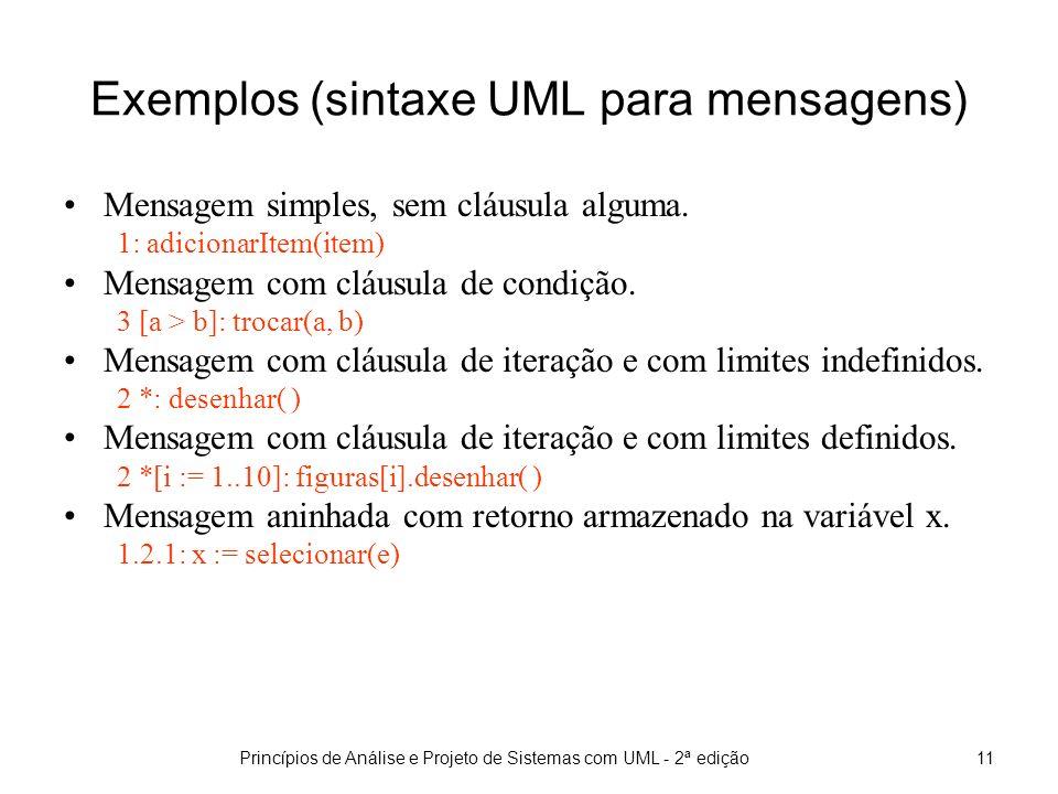 Princípios de Análise e Projeto de Sistemas com UML - 2ª edição12 Exemplos (sintaxe UML para mensagens)
